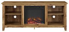 "Walker Edison - TV Stand with Electric Fireplace for Most TVs Up to 60"" - Sandalwood"