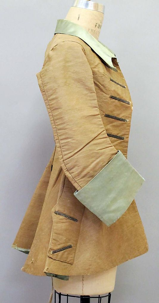 Riding jacket    Date:      early 18th century  Culture:      probably French  Medium:      silk, wool  Dimensions:      Length at CB: 30 in. (76.2 cm)  Credit Line:      Gift of Karl Lagerfeld, 2010  Accession Number:      2011.72    This artwork is not on display