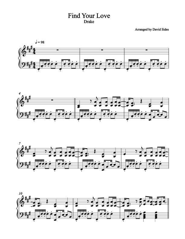 Find Your Love (Drake) Piano Sheet Music – David Sides Enterprises, Inc.