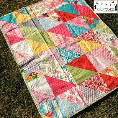 tillytom    cot / crib quilt whimsical prints by tillytomdesigns, $180.00