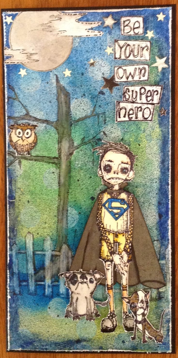 Designed and made by Gail Parker using Stampotique stamps. The background is done with gelatos and sprayed with Glimmer Mist in 2 shades of blue. The cape and superman symbol are both hand drawn.