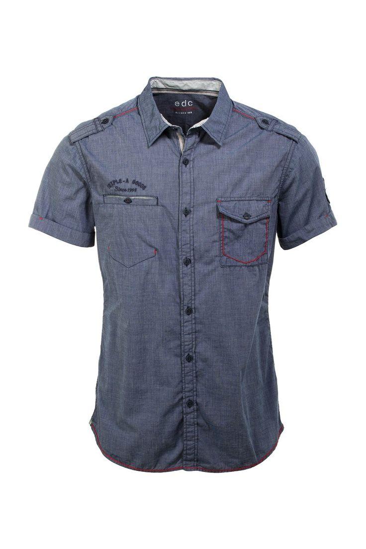 edc by ESPRIT Kurzarm Slim Fit - Camisa de manga corta para hombre: Amazon.es: Ropa y accesorios