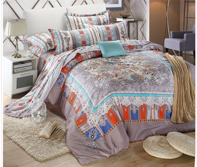 new 2014 Egyptian India style bed set  gray duvet cover flat sheet 100% cotton king queen home use wedding bedding set