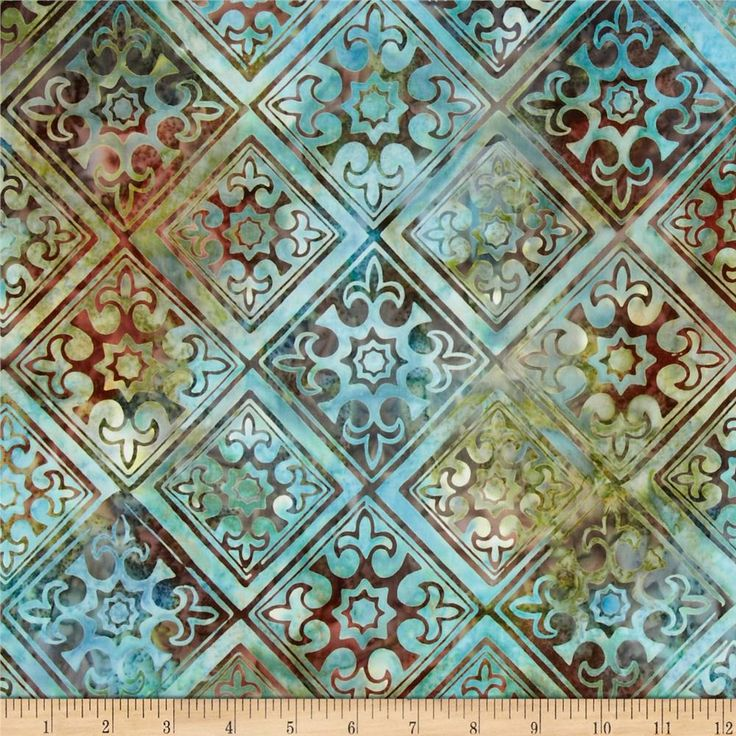 Designed for Robert Kaufman, this Indonesian batik is perfect for quilting, apparel and home décor accents. Colors include aqua, brown and green.