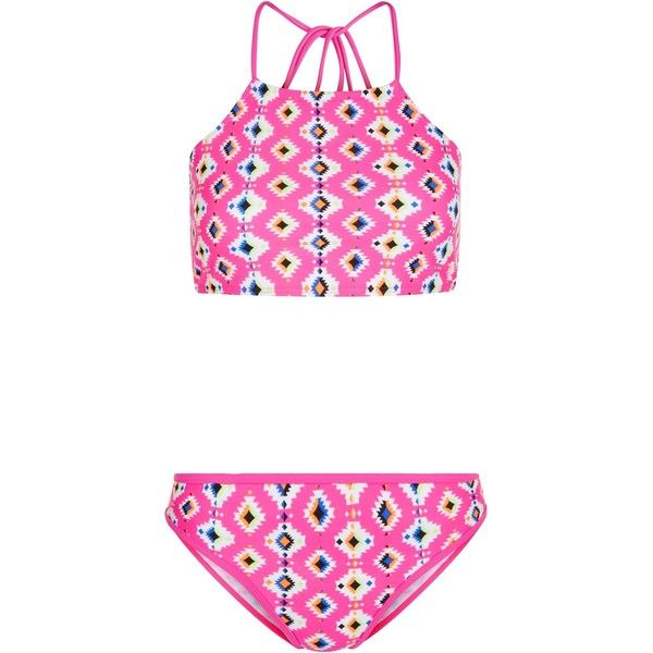 New Look Teens Pink Aztec Print High Neck Bikini Set (23 AUD) ❤ liked on Polyvore featuring swimwear, bikinis, pink pattern, bikini swimwear, high neck swim top, aztec bikini, high neck bikini and aztec bikini top