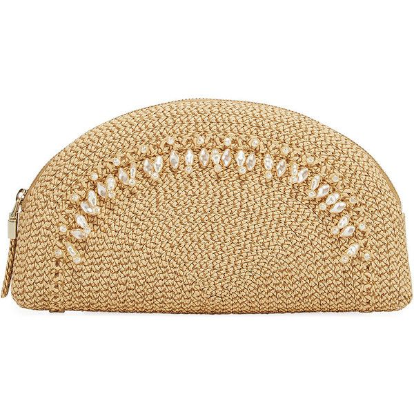 Eric Javits Pearl Embellished Clutch Bag (1.111.970 COP) ❤ liked on Polyvore featuring bags, handbags, clutches, beige, embellished handbags, woven handbags, pearl handbag, beige handbags and pearl clutches