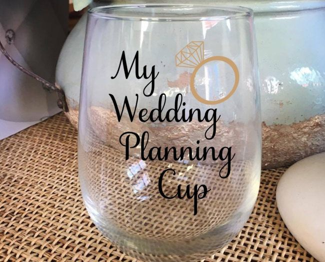 My Wedding Planning Cup Engagement Gift Bride Cup Gift for Bride Stemless Wine Glass Wine Cup Best Friend Gift Wine Glass Personalized by AveryAnnBoutique on Etsy