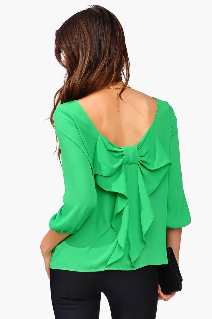 Waldorf Bow Blouse Kelly Green Fighting Okra
