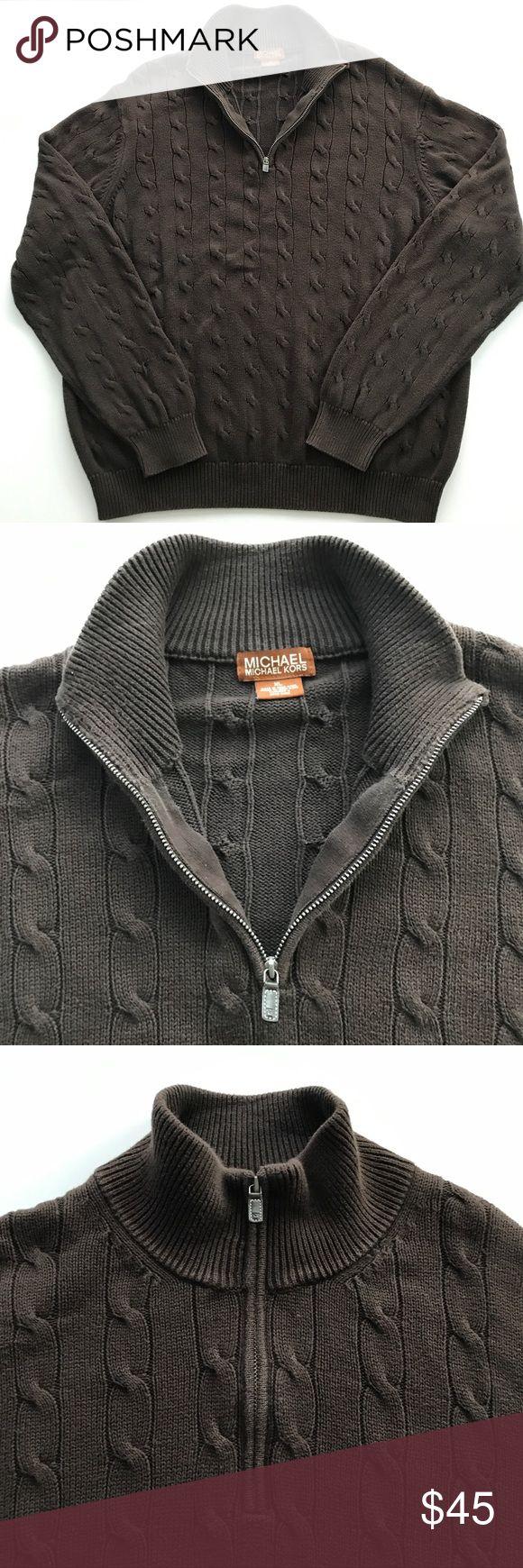 Men's Michael Kors Brown Cableknit 1/2 Zip Sweater Men's Michael Kors Brown  Sweater 1