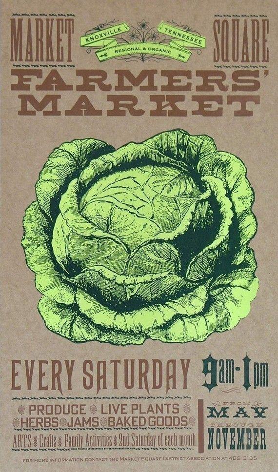 MARCHÉ paysan chou ou salade produits frais main typographie imprimés affiches