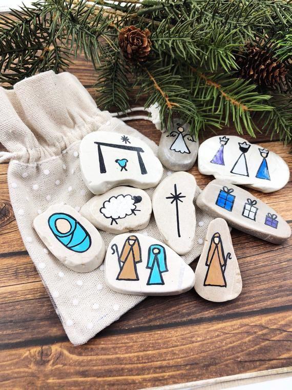 White Marble Christmas Story Stones Nativity Story Stones