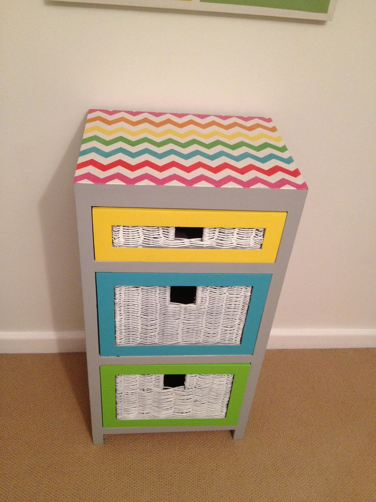 Colourful chevron fabric drawers.