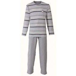 Een viertal lagen van grijze lijntjes gescheiden door zwarte strepen bij heren pyjama met grijsachtige broek