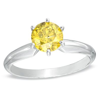 YELLOW DIAMOND engagement ring. Perfection.    $3186    1 CT. Enhanced Yellow Diamond Solitaire Engagement Ring in 14K White Gold - Zales