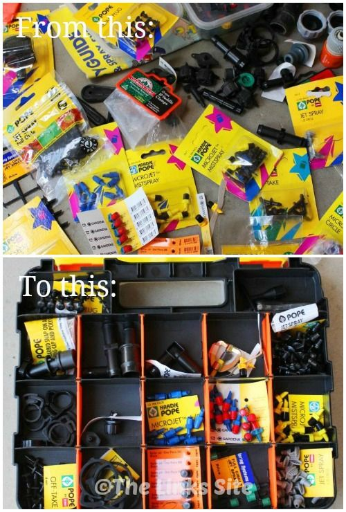 How I turned my collection of unorganised garden irrigation supplies into a highly organised collection of parts! #diy #storage #idea