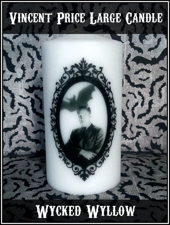 Vincent Price Large Pillar Candle Vintage Horror by WyckedWyllow