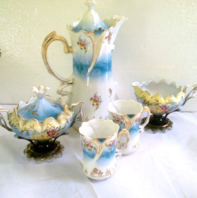 ANTIQUE VICTORIAN ERA RS PRUSSIA LOT CHOCOLATE POT CREAMER SUGAR: