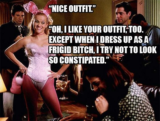http://www.teen.com/2015/06/28/movies/legally-blonde-burns-and-comeback-quotes/    Reese Witherspoon as Elle Woods is still one of the greatest things that has ever happened to the film world. Legally Blonde is totally epic. In addition to empowering women to do just about anything they set their mind to, Elle has some of the best lines of any movie. Seriously, we will never think orange is the new pink, because Elle told us it wasn't and she was right!