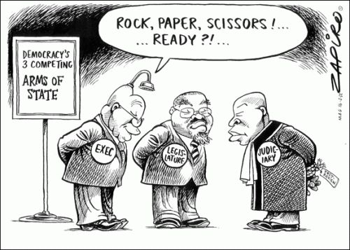 ZAPIRO cleverly uses Rock, Paper and Scissors as a device for this political cartoon.
