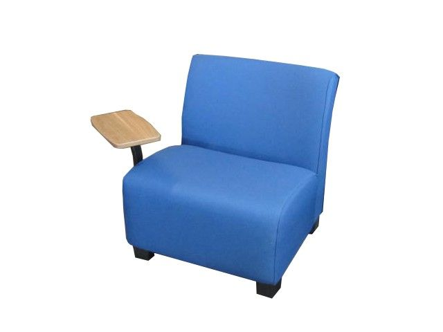 Steelcase Jenny tablet lounge chair in blue fabric with a swiveling tablet ar