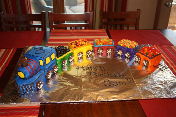 Train cake. My sister made many of these for her boys, who are now all young men!