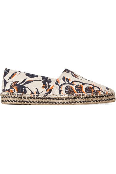 Sole measures approximately 15mm/ 0.5 inches Beige, midnight-blue and orange canvas Slip on Imported