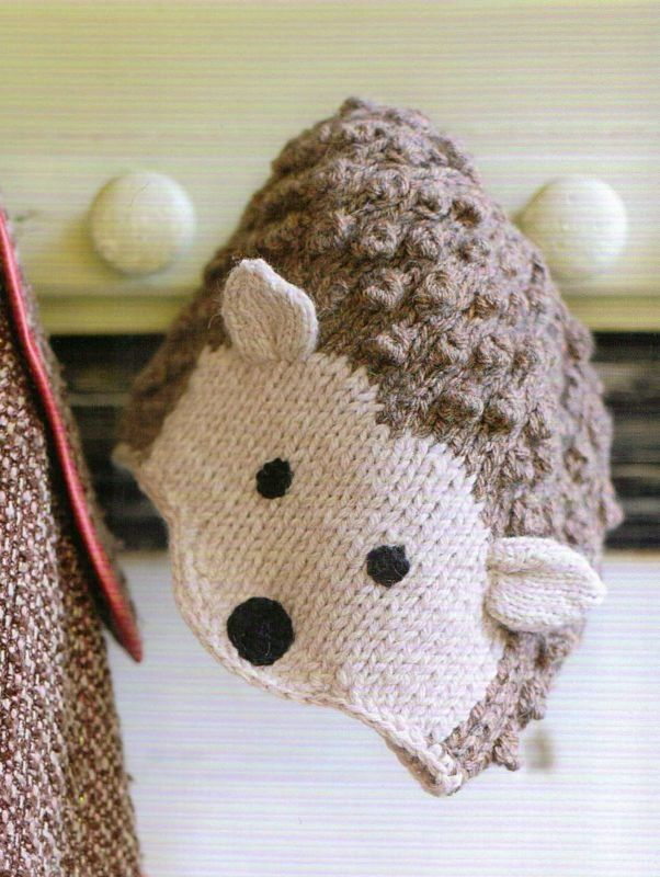 Knitting Pattern for Hedgehog Hat - Prickles the Hedgehog Hat is one of the 35 knitting patterns in Knitted Animal Hats: 35 wild and wonderful hats for babies, kids and the young at heart