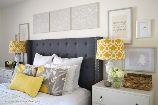 Gray  yellow bedroomColors Combos, Decor Ideas, Yellow Bedrooms, Tufted Headboards, Colors Schemes, Diy Headboards, White Bedrooms, Master Bedrooms, Bedrooms Ideas