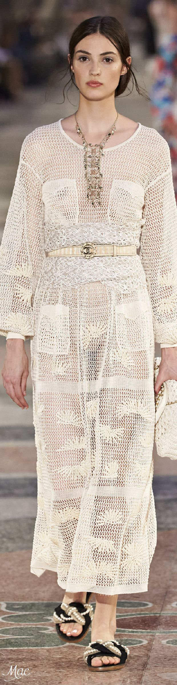 boho crochet maxi summer couture dress gypsy chic from Resort 2017 Chanel if only alice