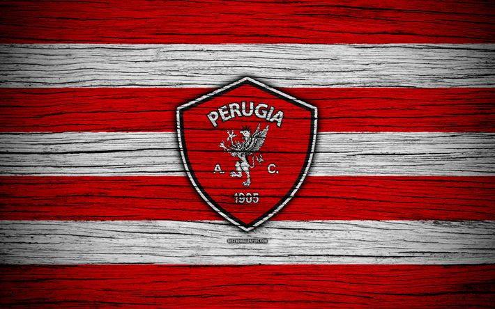 Download wallpapers AC Perugia Calcio, 1905, Serie B, 4k, football, wooden texture, red white lines, italian football club, Perugia FC, logo, emblem, Perugia, Italy