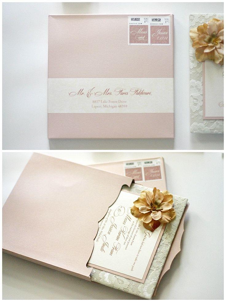 reception information on back of wedding invitation%0A Lace Invitation with Blush Padding