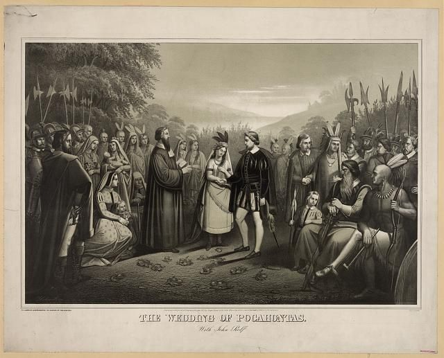 Pocahontas, daughter of the chief of the Powhatan Indian confederacy, marries English tobacco planter John Rolfe in Jamestown, Virginia. The marriage ensured peace between the Jamestown settlers and the Powhatan Indians for several years.