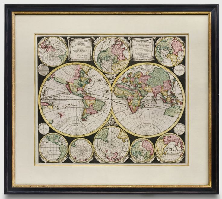 Houston Map Framed%0A A rare and beautiful map of the world and details in hemispheres  Framed to  conservation