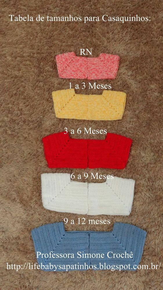 Prof.ª Simone – Tabela de tamanhos para casaquinhos ☂ᙓᖇᗴᔕᗩ ᖇᙓᔕ☂ᙓᘐᘎᓮ http://www.pinterest.com/teretegui