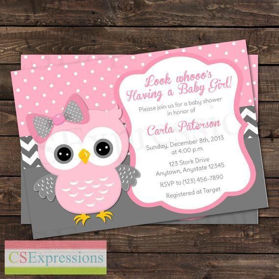 Pink Polka Dot and Gray Chevron Girl Owl Baby Shower Invitation –  #Baby #Chevron #Dot #Girl …