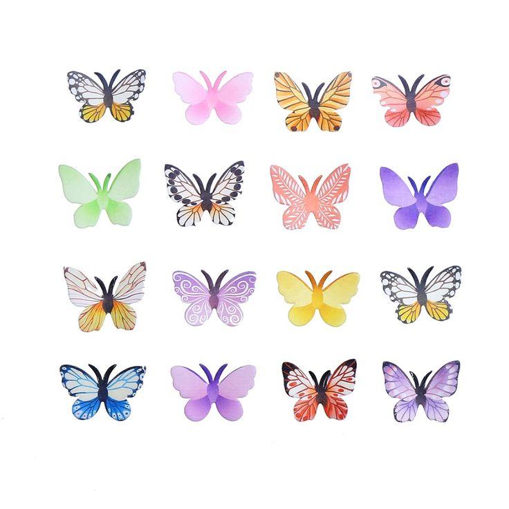 Pas cher CCINEE 50 PCS Comestibles papillon Coloré 3D Papillon pour la…