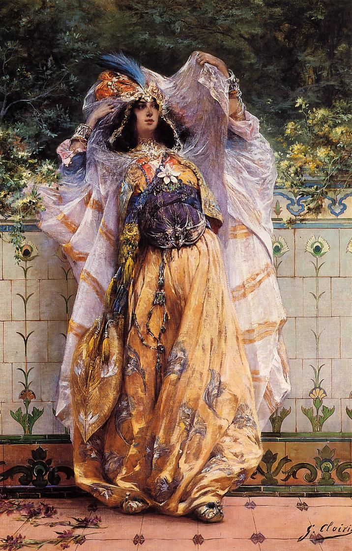 """""""An Ouled-Nail Tribal Dancer"""" by French Orientalist painter and illustrator Georges Jules Victor Clairin (1843 - 1919) who studied at the Ecole des Beaux-Arts in Paris and traveled (and worked) with the painter Henri Regnault in Spain, and Tangirs. In the 1870s Georges Clairin helped decorate the ceilings in the Paris Opera."""