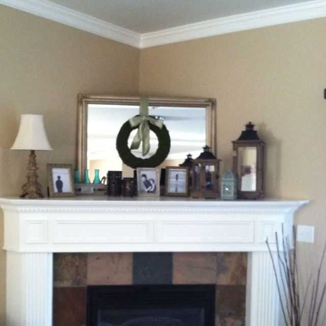 Having a hard time decorating my very deep corner fireplace! I pulled these ideas off pinterest!
