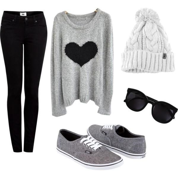Winter outfit. Luv the sweater, shoes and hat! Would like straight leg jeans with it.