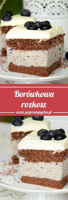 BORÓWKOWA ROZKOSZ – najlepsze ciasto borówkowe <3 Składa się z czekoladowego biszkoptu, masy borówkowej na bazie mleka w proszku oraz delikatnej masy śmietankowej na wierzchu. Całość świetnie się razem komponuje, jest słodka, lecz borówki fajnie przełamują tą słodycz :) #poprostupycha #ciasto #borówka #wypieki