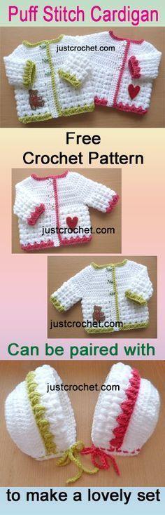 Free baby crochet pattern for preemie puff stitch cardi. #crochet