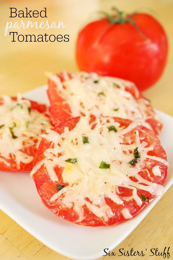 Baked Parmesan Tomatoes are a healthy side dish.