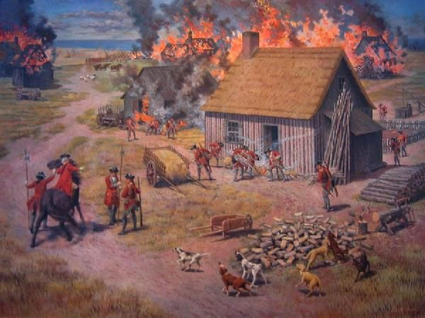 British burning Acadian homes so they would not return.