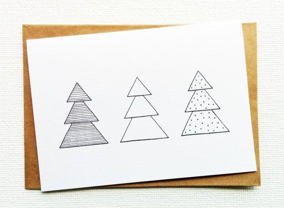 Kerstkaarten, Gelukkig nieuwjaar kaart, Prettige kerstdagen, Simpele kerstkaart, Kerstboom illustratie, Kerstillustratie, Kerstmis, Zwartwit
