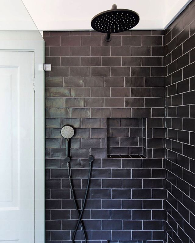591 best images about bathrooms showers floors - White subway tile with black grout bathroom ...