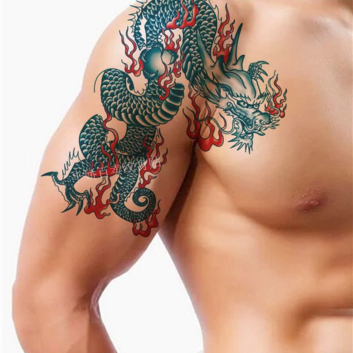 Waterproof Temporary Tattoo Sleeve Stickers Sexy Blue Dragon Fire Large Design Body Art Makeup Tools