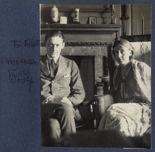 T.S. Eliot (September 26, 1888 – January 4, 1965) & Virginia Woolf. Photo by Lady Ottoline Morrell, June 1924 - vintage snapshot print