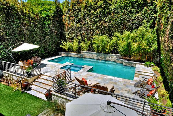 23 best images about home swimming pools on pinterest faux grass backyards and flower borders for Landscaping around swimming pools