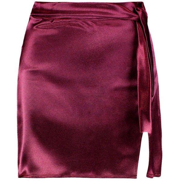 Boohoo Holly Woven Shimmer Satin Split Mini Skirt (£13) ❤ liked on Polyvore featuring skirts, mini skirts, pleated maxi skirts, pleated skirt, purple maxi skirt and pleated midi skirt