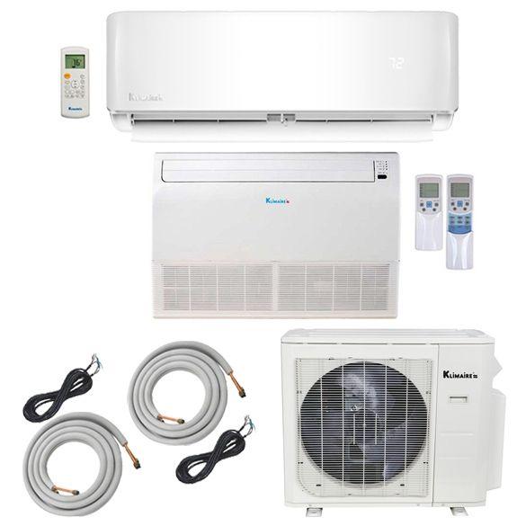 2 Zone Klimaire 22 Seer Multi Zone Mini Split 2 Room Air Conditioner Heat Pump 12 18 With 25 Ft Installati Room Air Conditioner Heating And Cooling Cool Stuff